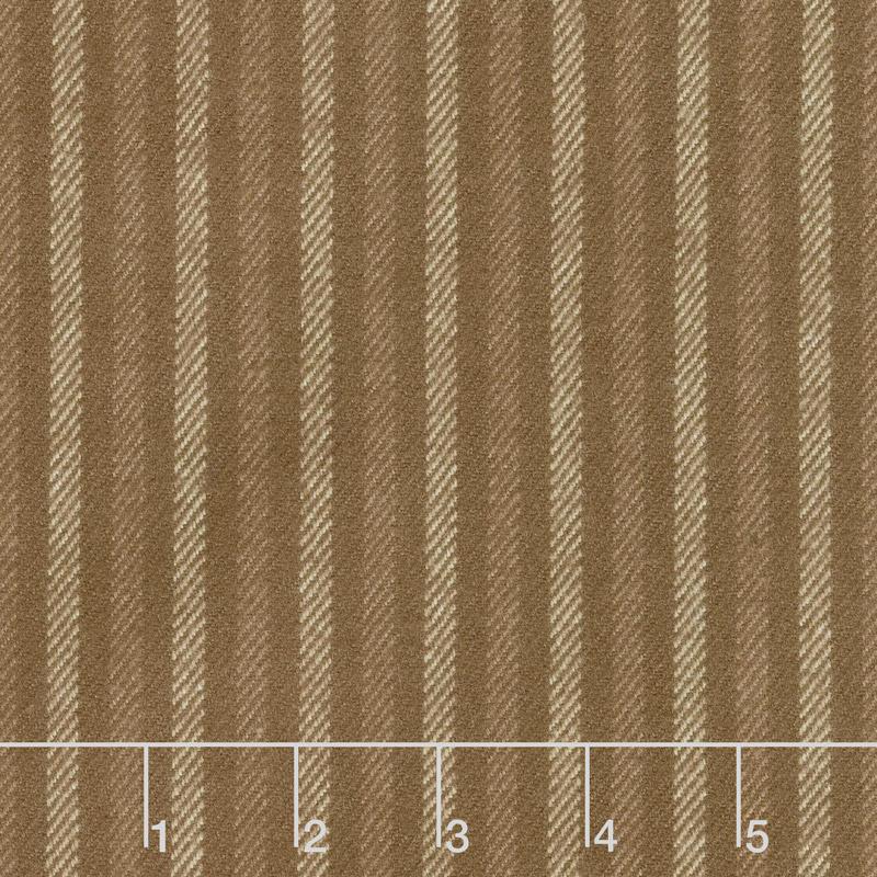 Primo Plaids - Chalk & Timber Ticking Stripe Brown Yarn Dyed Flannel Yardage