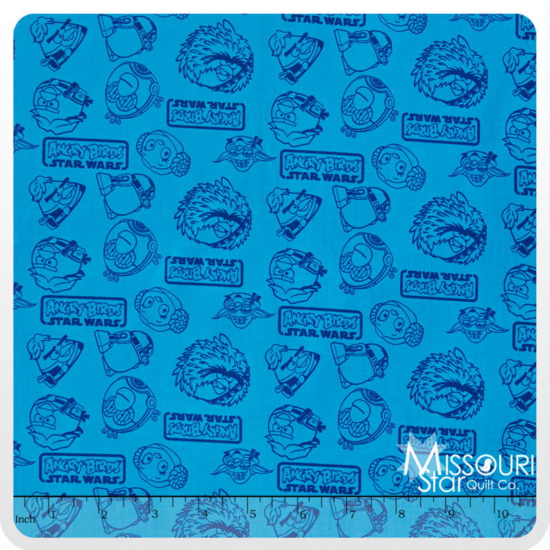 Angry Birds - Star Wars Outlines Blue Yardage