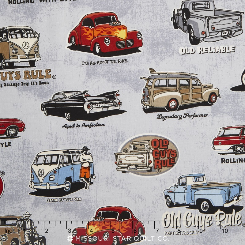 Old Guys Rule - Cars Classic Cars Charcoal Yardage - Robert ...