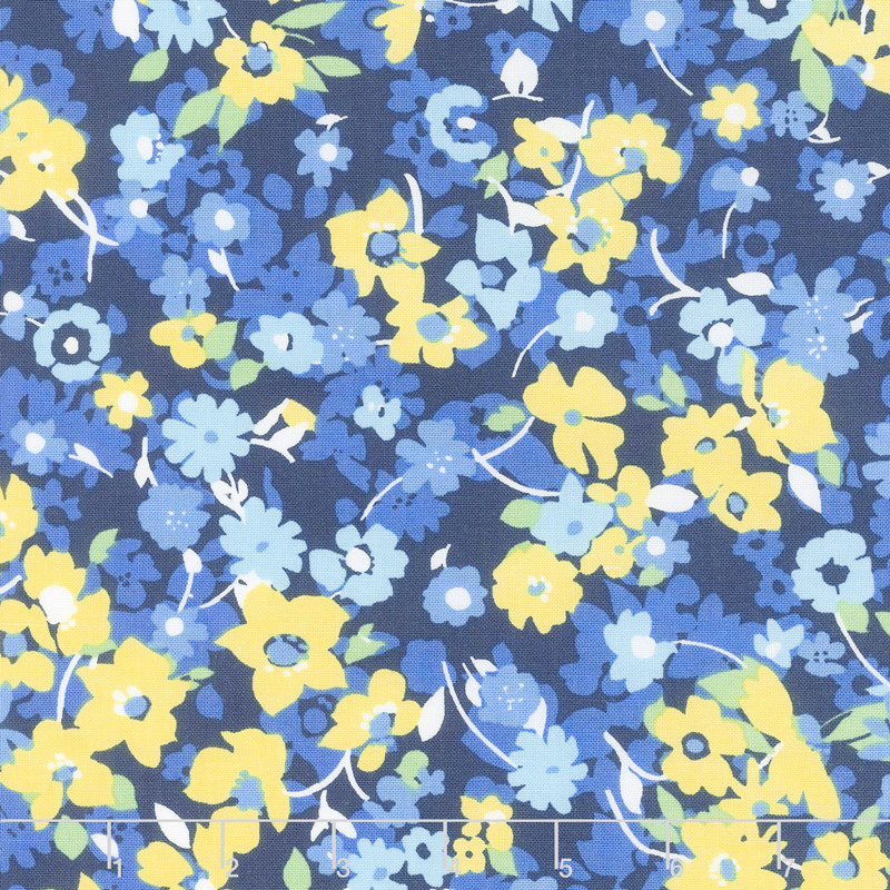 Only You - Packed Floral Blue Yardage