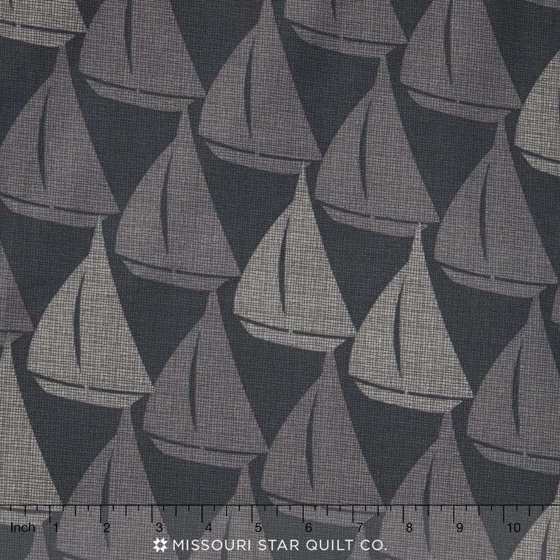 Splash - Sailboats Black Yardage
