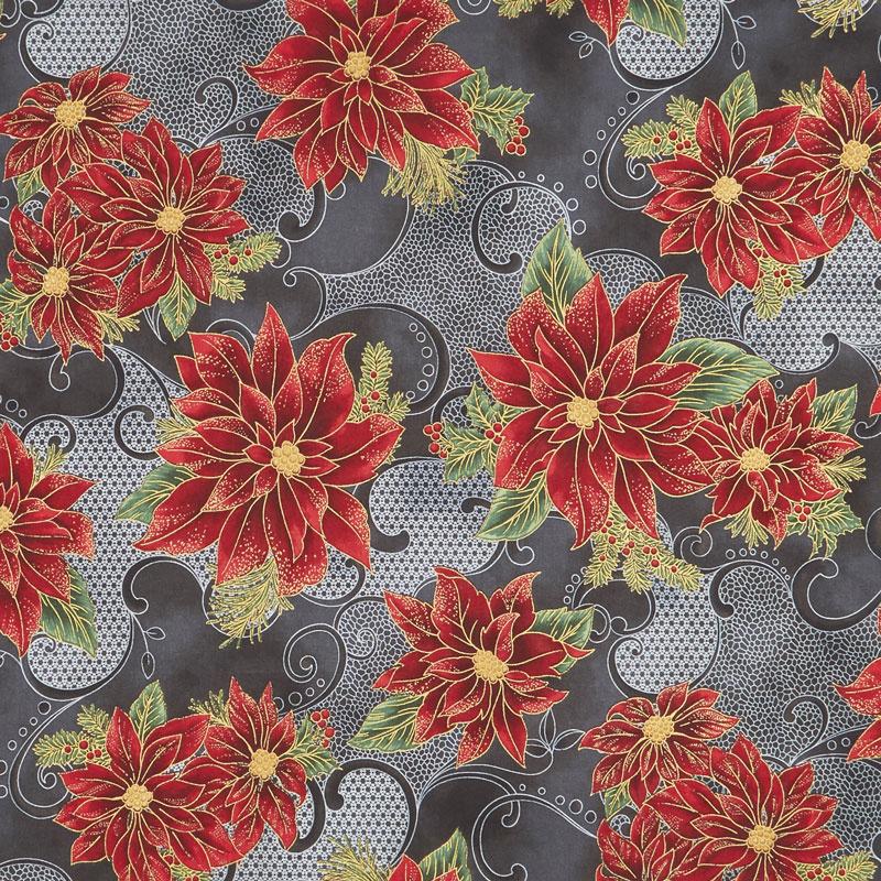 Holiday Flourish 12 - Poinsettia Black Metallic Yardage