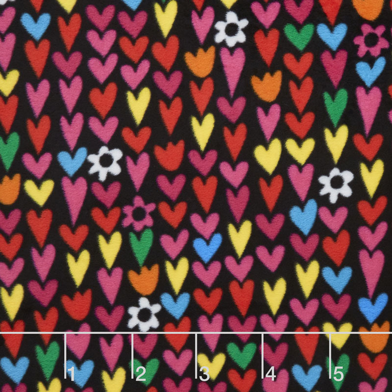Winterfleece - Hearts Black Yardage