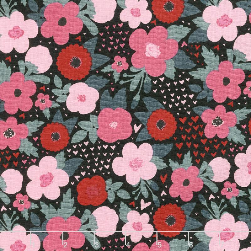 Hello Sweetheart - Floral Black Yardage