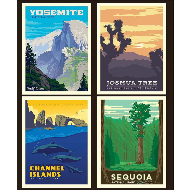 Art Deco National Park Posters: National Parks - California Pillow Panel