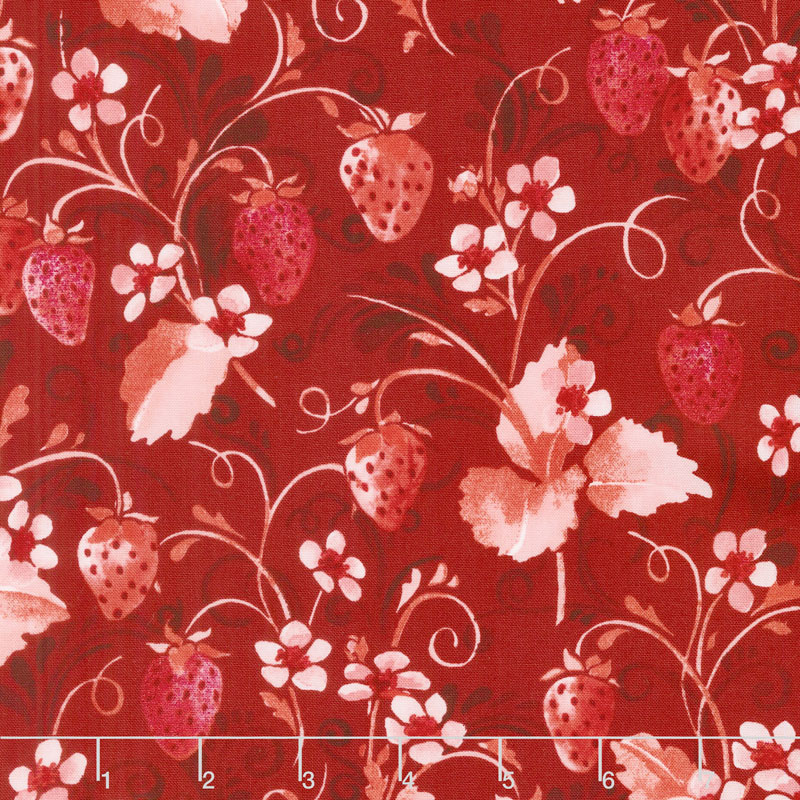 Sugar Berry - Strawberry Pie Radiant Scarlet with Red Glitter Yardage
