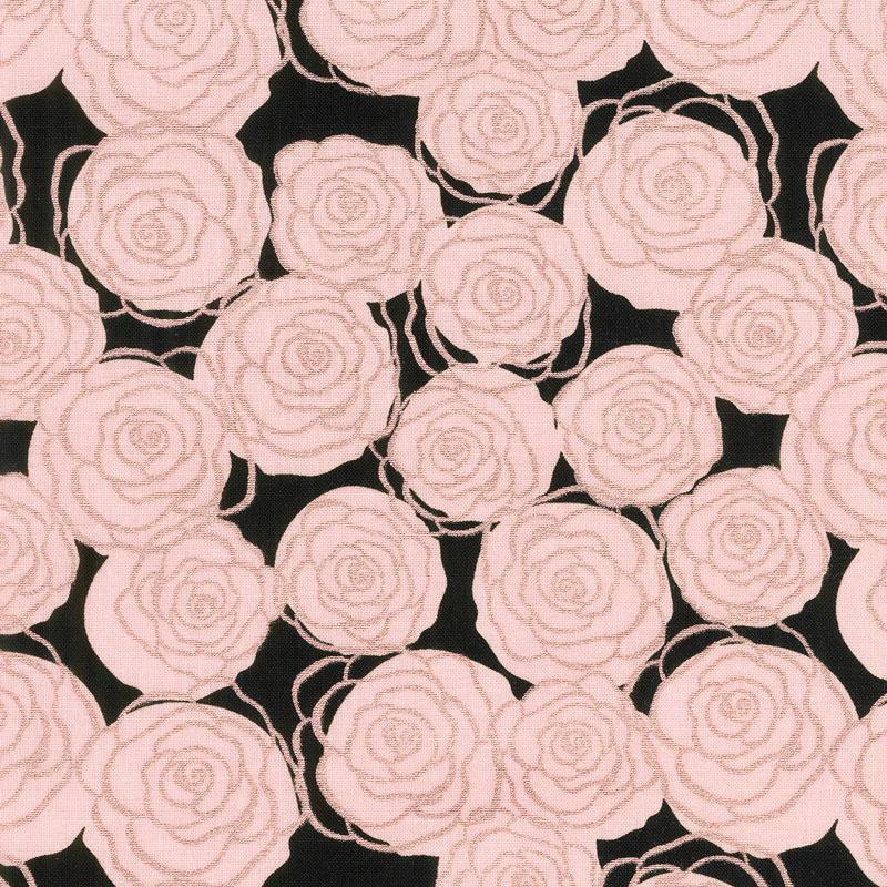 Bliss - Roses Black with Rose Gold Sparkle Yardage