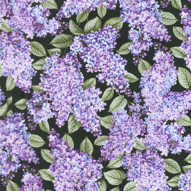 Lilacs in Bloom - Lilacs in Bloom Black Yardage