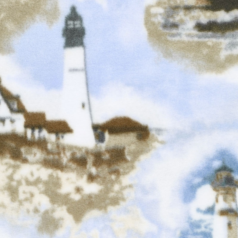 Winterfleece Prints Outdoor - Lighthouses Multi Fleece Yardage