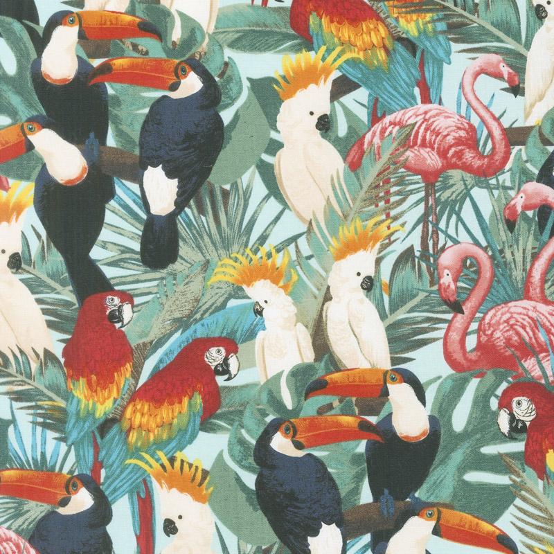 Animals - Tropical Birds Bright Yardage