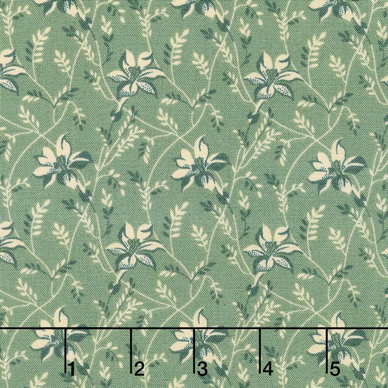 Sequoia - Buds and Vines Blue Spruce Yardage