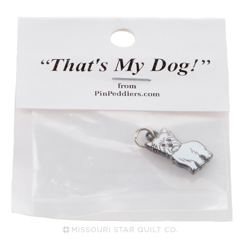 Terrier Charm Standing White by Pin Peddlers