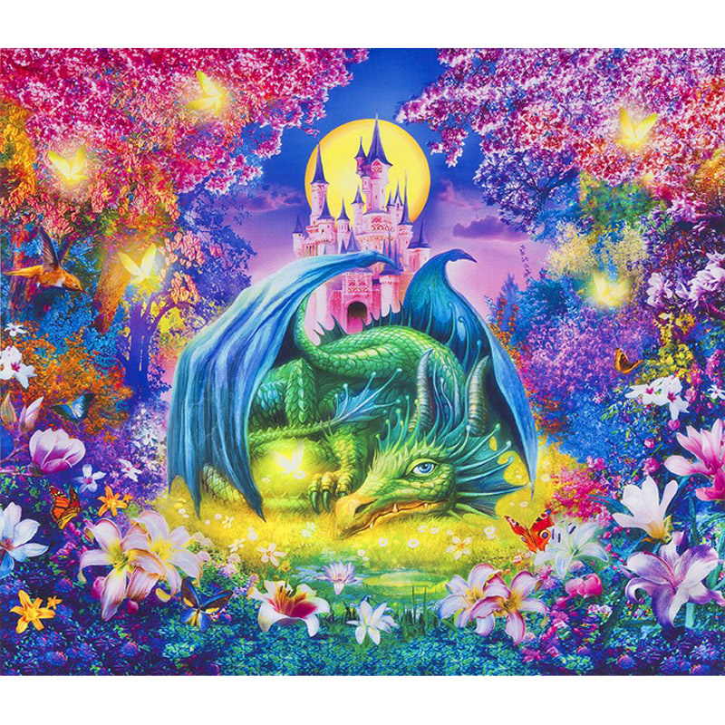 Wild Dragon and Castle Fabric Panel Digitally Printed