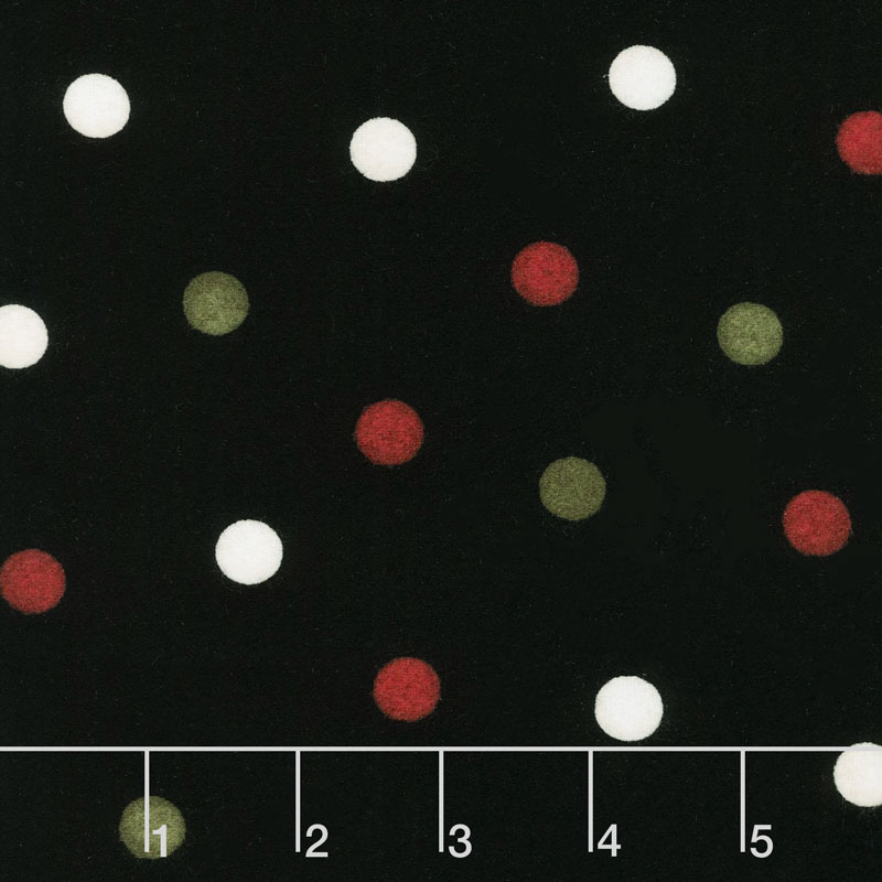 Most Wonderful Time Flannel - Big Dots Black Green Red Yardage