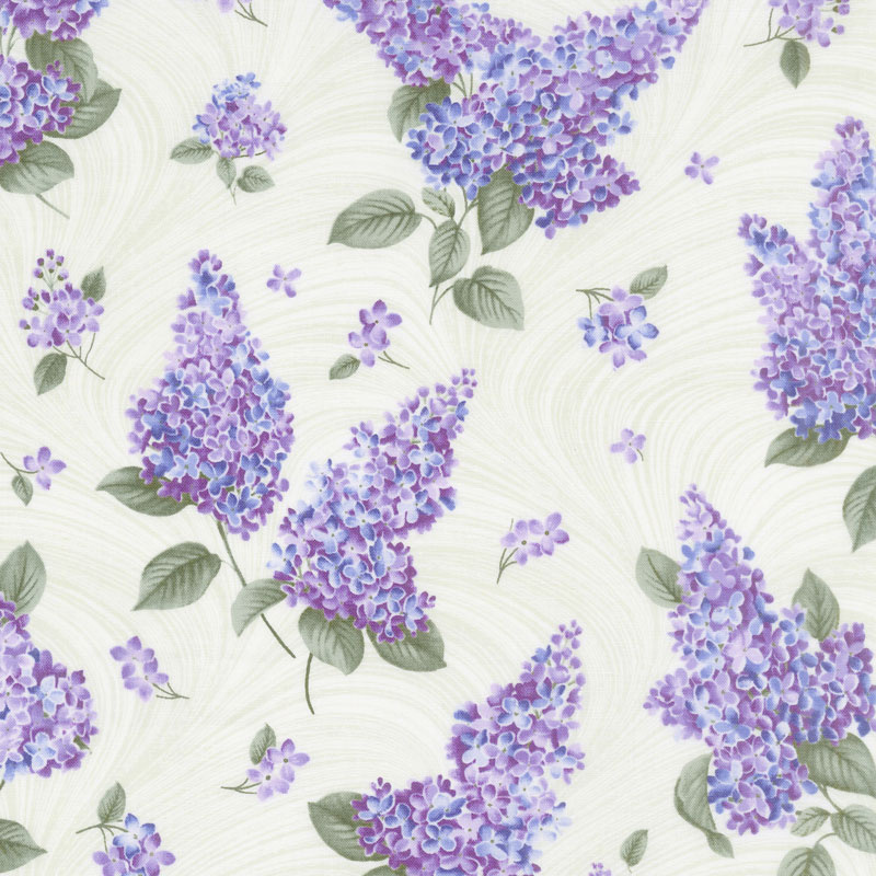 Lilacs in Bloom - Lilacs and Wave Sage Yardage