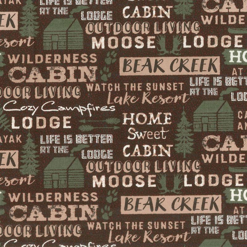 Home Sweet Cabin - Cabin Words Brown Yardage