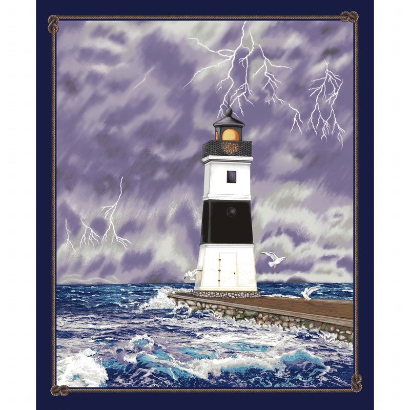 Lighthouse Wonders - Stormy Lighthouse Purple Panel