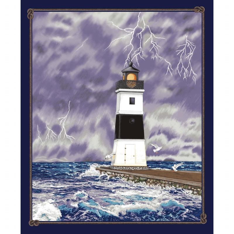 Lighthouse Wonders - Stormy Lighthouse Purple Panel