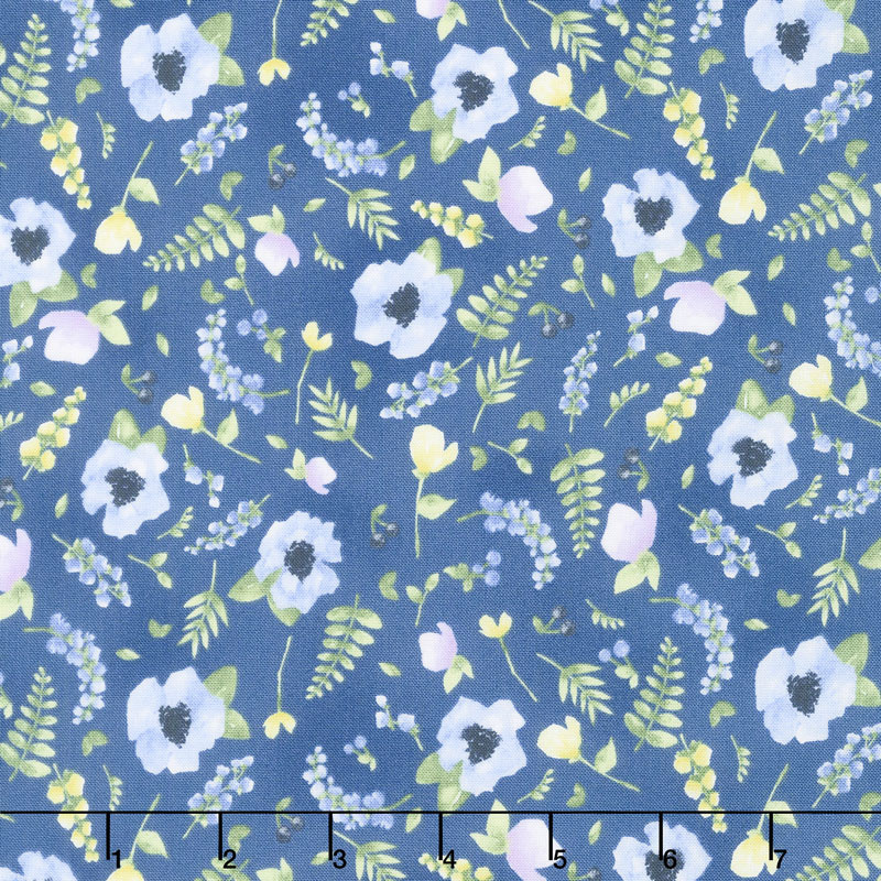 June's Cottage - Blossoms and Berries Starry Night Yardage