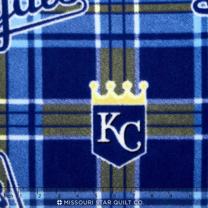 MLB - Kansas City Royals Plaid Blue Fleece Yardage