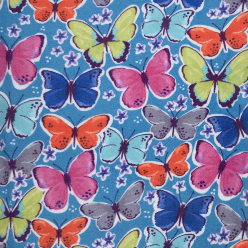 Winterfleece - Butterflies Teal Yardage