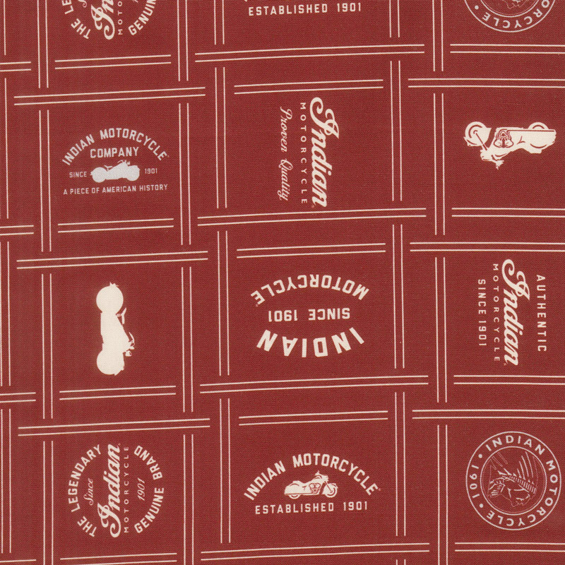 Indian Motorcycle - Patches Red Yardage