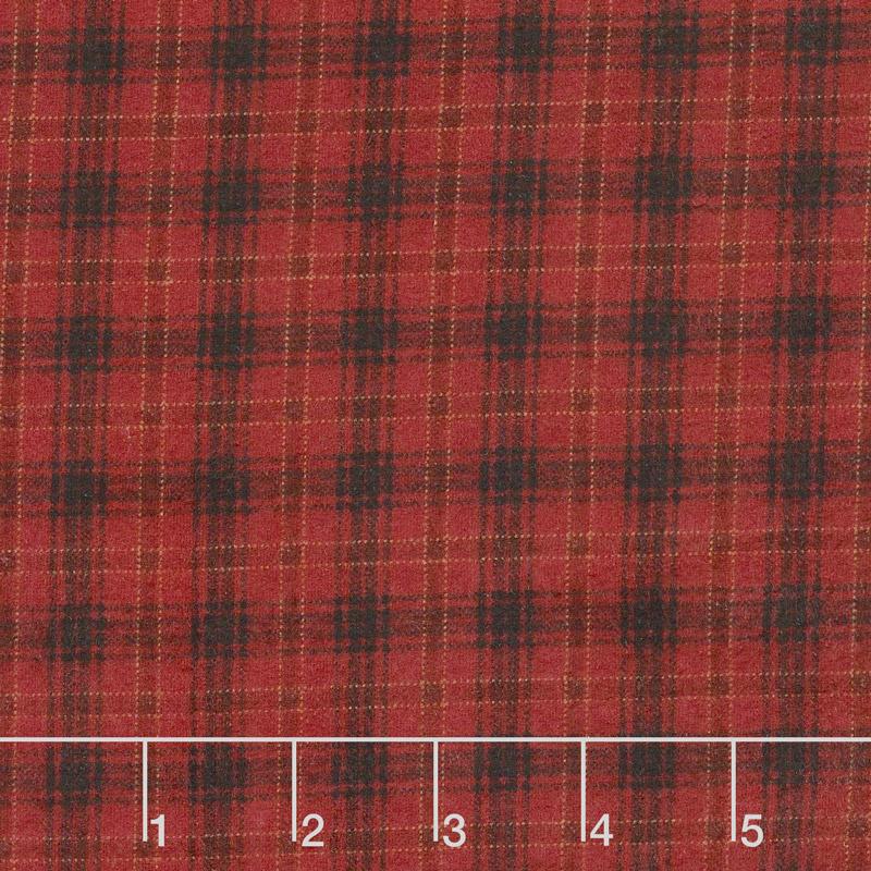 Folk Art Flannels 2 - Printed Plaid Red Yardage