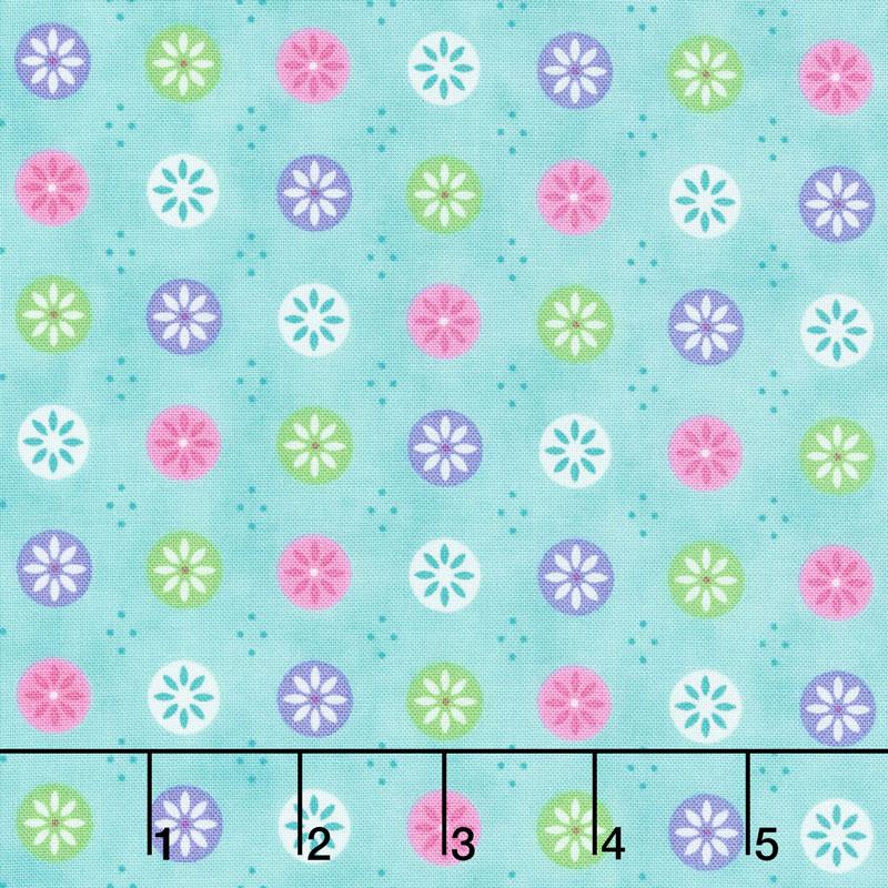 Flower Sacks - Flowers in a Circle Turquoise Yardage