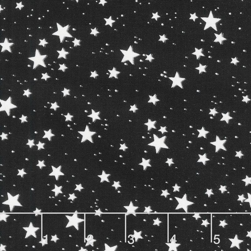 So Adora-Boo! - Stars Black Glow in the Dark Yardage