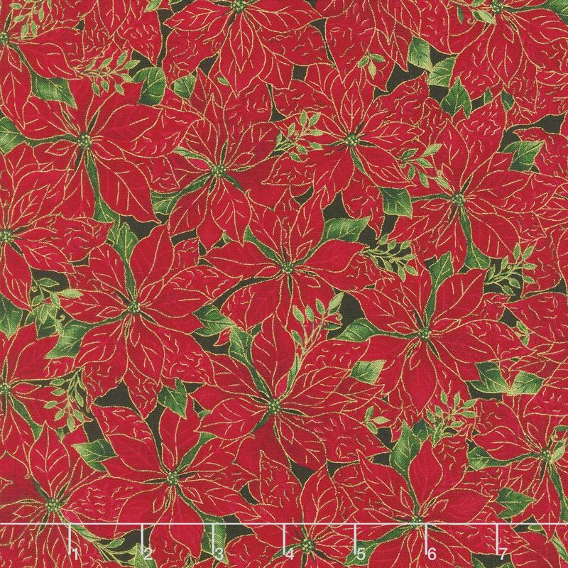 A Joyful Season - Packed Poinsettias Red Metallic Yardage