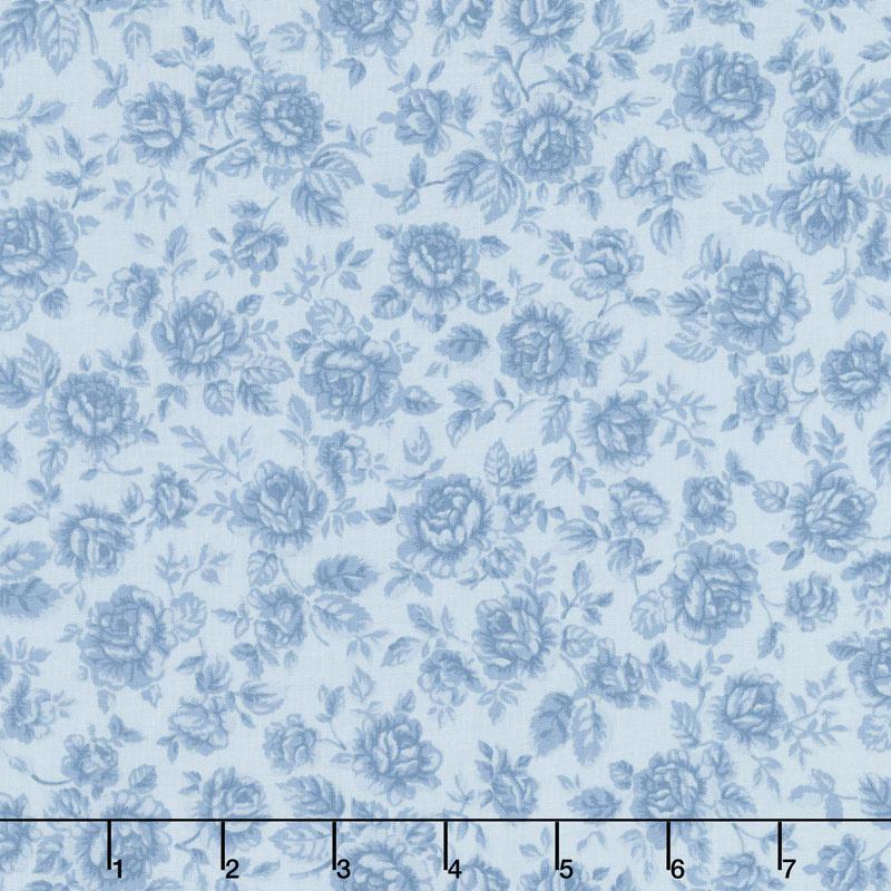 Eaton Place - Roses Blue Yardage