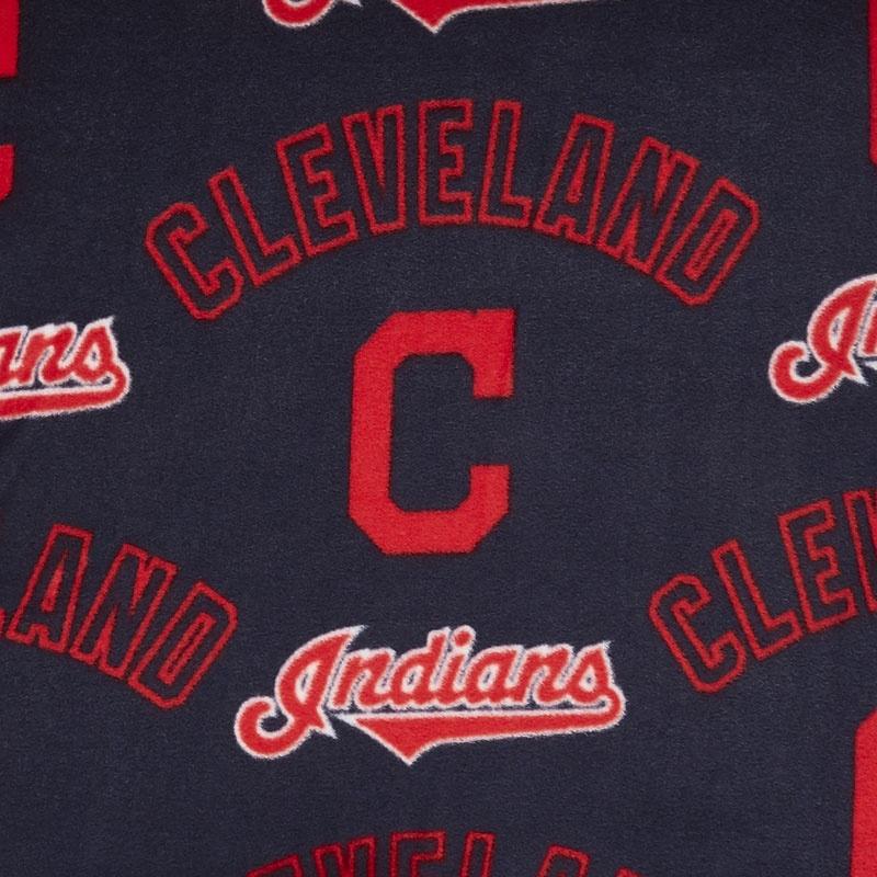 MLB Fleece - Cleveland Indians Navy/Red Yardage