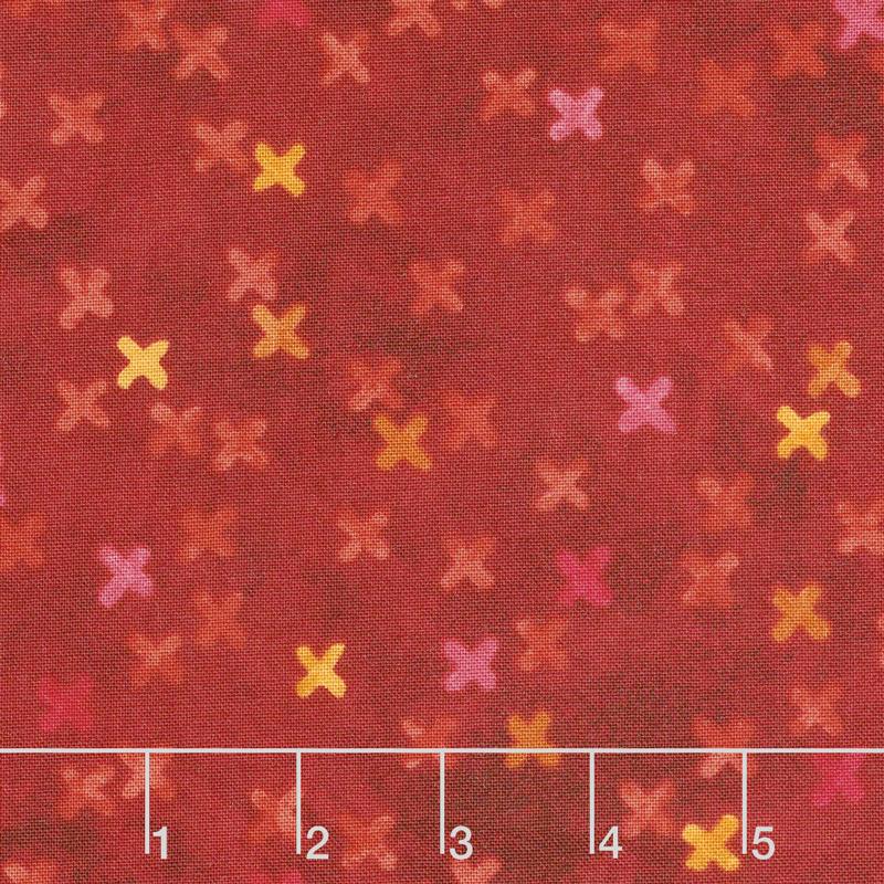 X's and O's - Big Kisses Warm Red Multi Yardage
