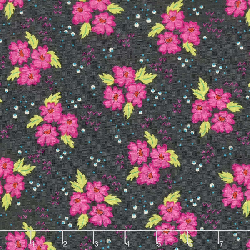 Gypsy - Floral Clusters Charcoal Yardage