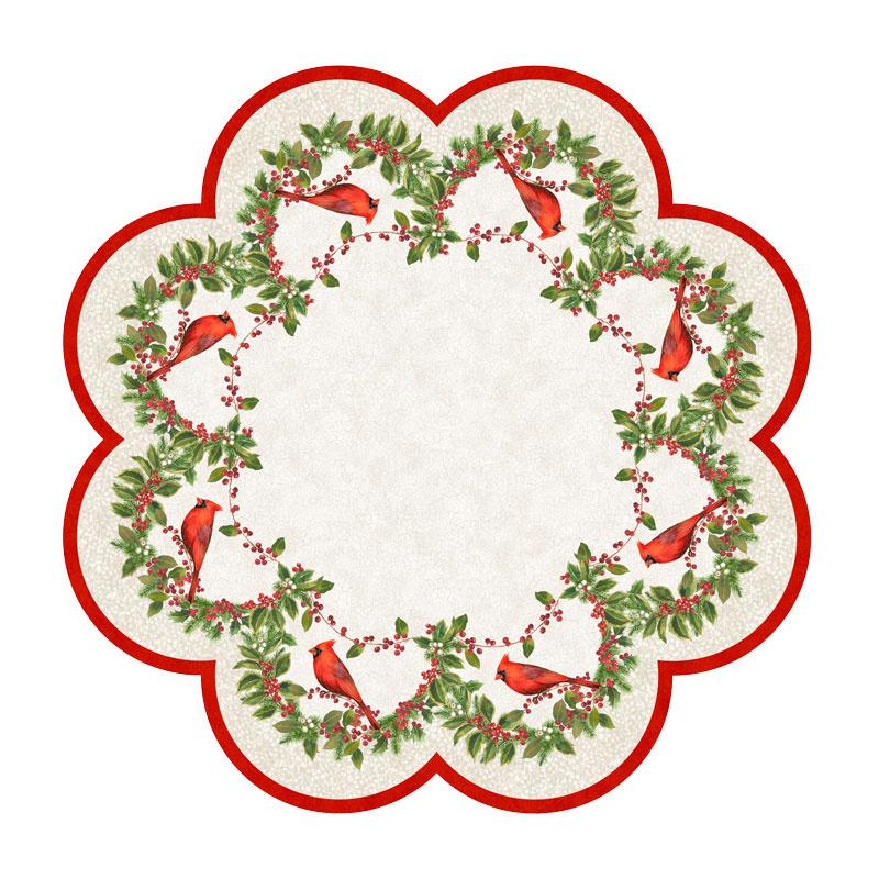 Cardinal Woods - Tree Skirt or Table Topper Cream Multi Digitally Printed Panel
