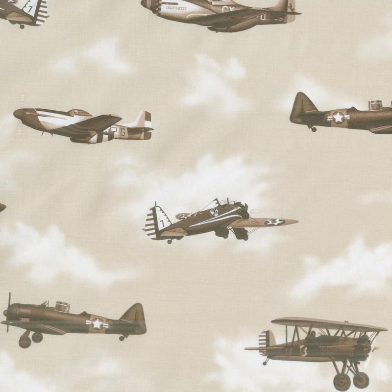 Air Show - Antique Planes Beige Yardage