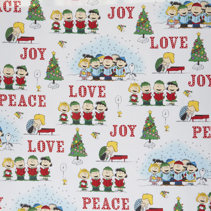 Peace Love Joy - Charlie Brown Caroler Vignette White Yardage