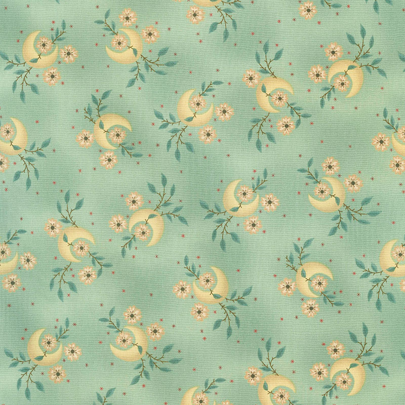 Kim Diehl Gratitude /& Grace Whatnots 9401-11 AQUA CRESCENT MOONS Quilt Fabric Henry Glass Fabrics