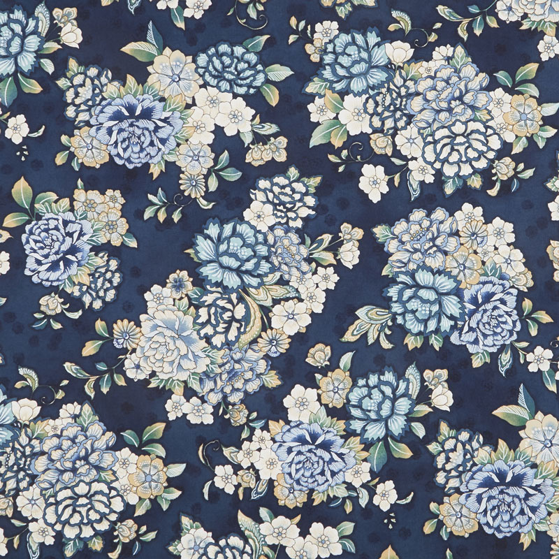 Calista - Teal Flowers Teal Pearlized Yardage