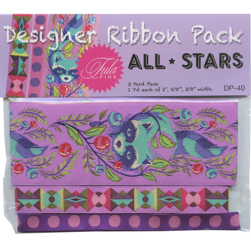 Tula Pink All Stars Purple Raccoons Designer Ribbon Pack