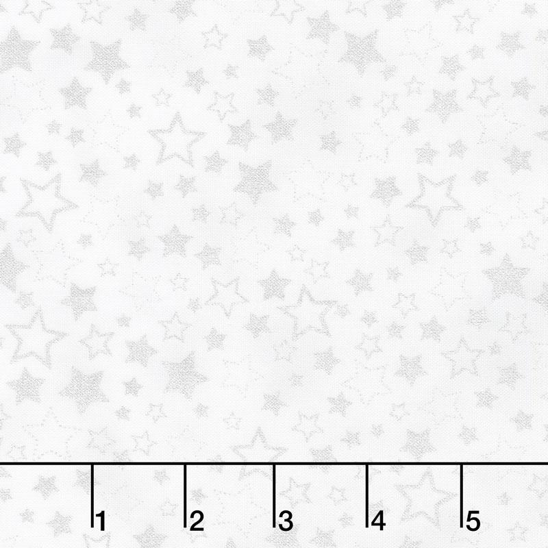 Winter's Grandeur 7 - Scarlet Stars Silver Metallic Yardage