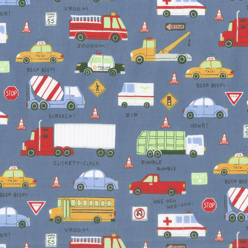 Keep On Truck'n - Toss Trucks Light Navy Yardage