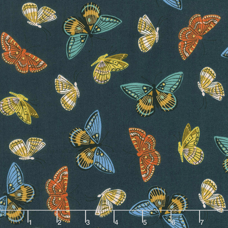 English Garden - Monarch Navy Cotton Lawn Metallic Yardage
