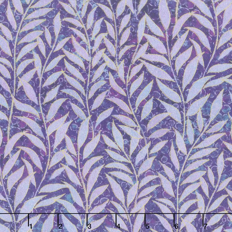 Shimmer Dragonfly Moon - Royal Garden Leaf Blender Purple Yardage