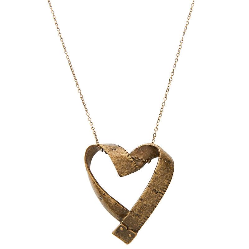Vintage Tape Measure Heart Necklace