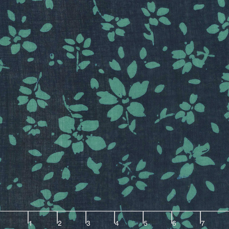 Bazaar Rayon Batiks - Flowers Midnight Yardage