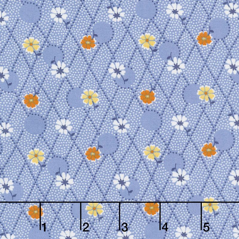 Aunt Grace's Flower Pots - Criss Cross Flowers Blue Yardage