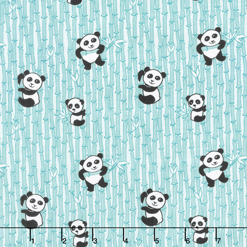 Panda Love - Bamboo Aqua Yardage
