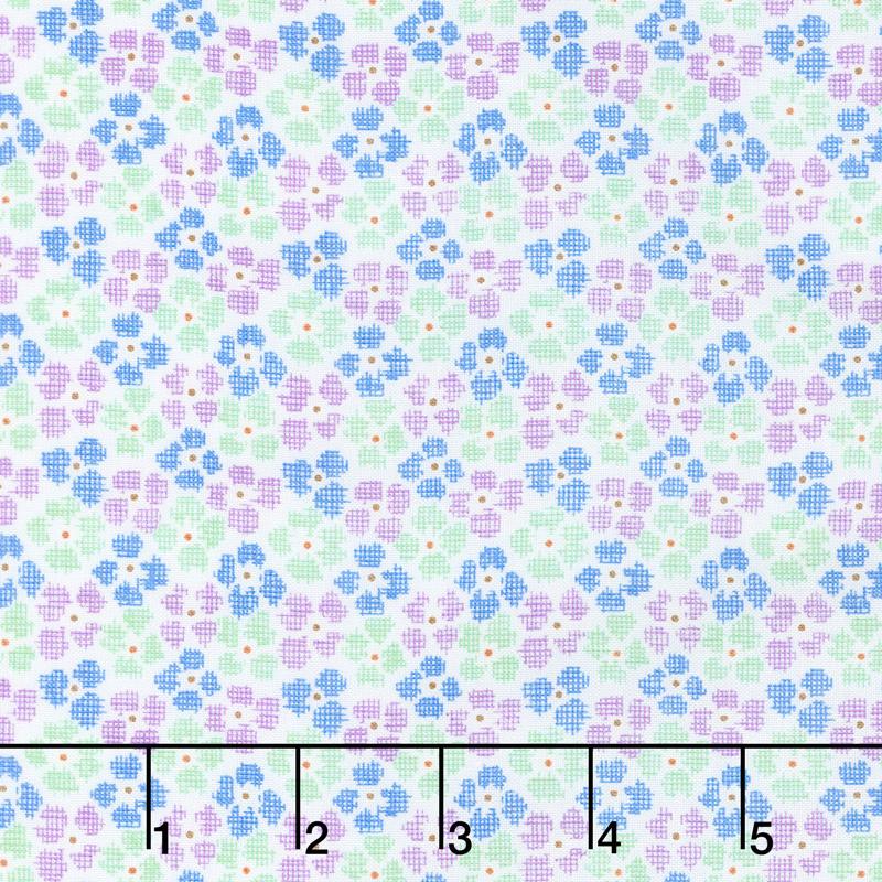 Adeline - Check Flowers Purple Yardage