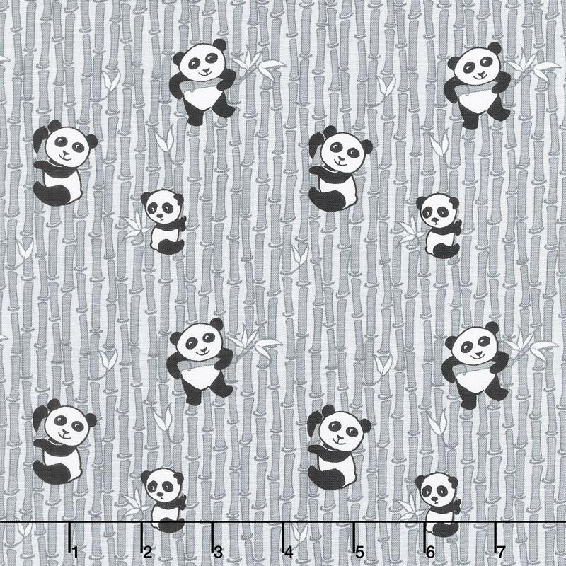 Panda Love - Bamboo Light Gray Yardage